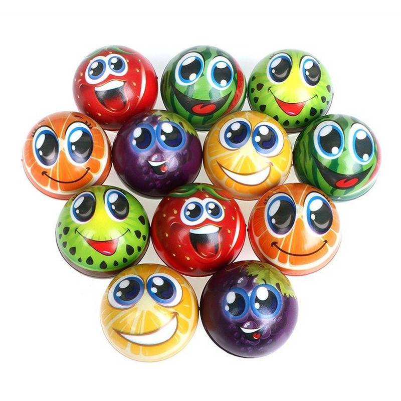 6pcs 6.3cm Soft PU Foam Sponge Fruits Orange Grimace Smiley Face Squeeze Ball Antistress Relief Ball Toys For Boys Kids