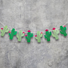 Hawaii Cactus Banners Summer Party Banner Garland Garland Flags Birthday Party Supplies Decorations 2 Sets lovely cartoon banners clouds and airplanes garland party decorations blue baby showers kids birthday supplies