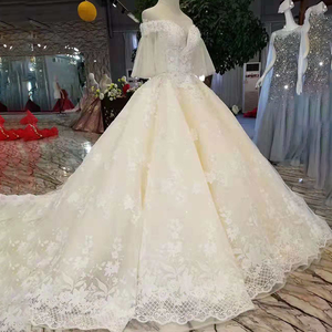 Image 3 - LS11087 light champagne wedding gowns flare half sleeves sweetheart lace up back ball gown from real factory formelle robes