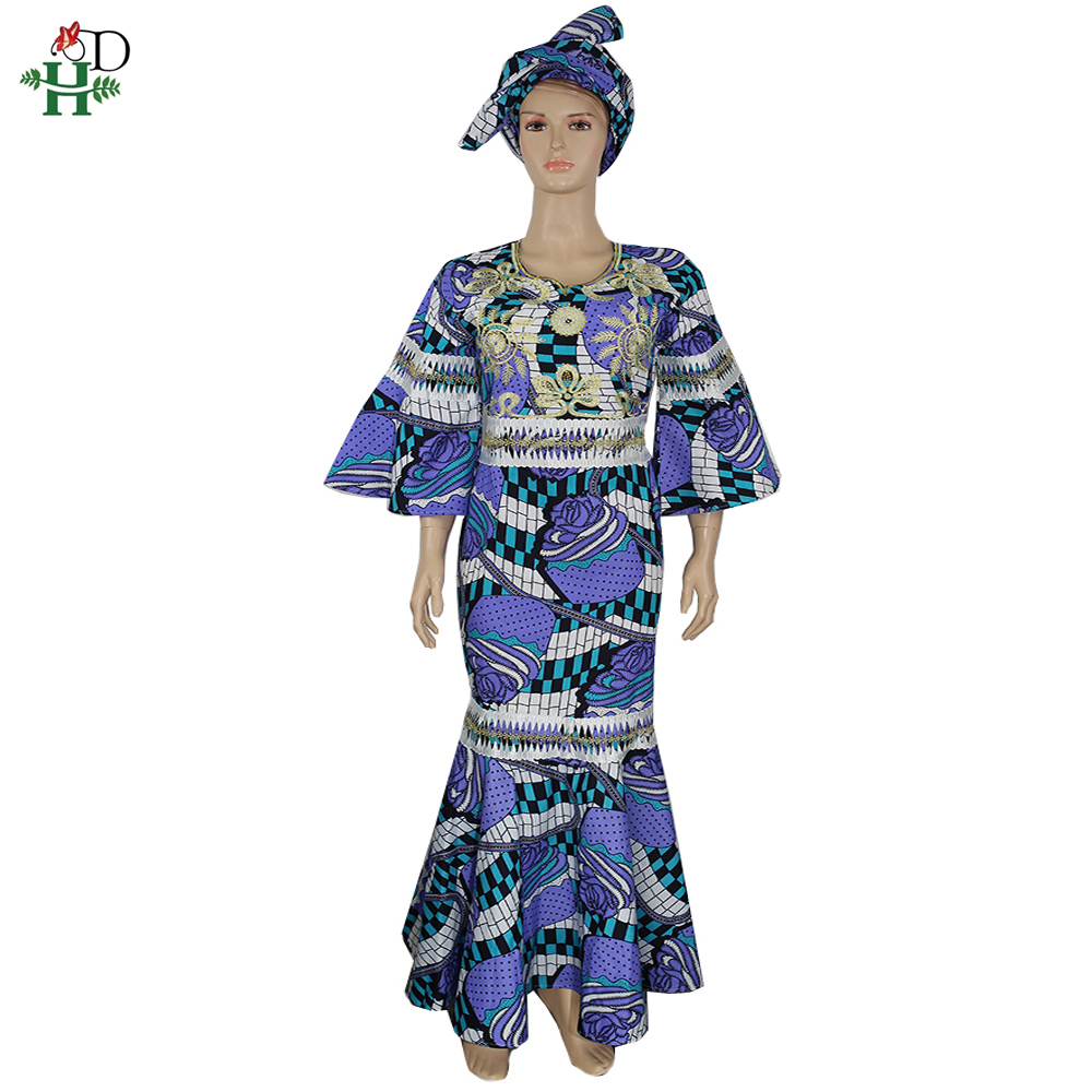 H&D South Africa Ankara Dresses For Women Wax Print Batik Maxi Dress Ruffles Dashiki Dress Nigerian Headtie Traditional Clothing
