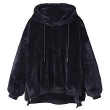 Sweatshirt hoodies Women Winter korean style Sweatshirt Hoodies Warm Fluffy Coats Hooded woman winter coats 2019 Fleece Fur F731(China)