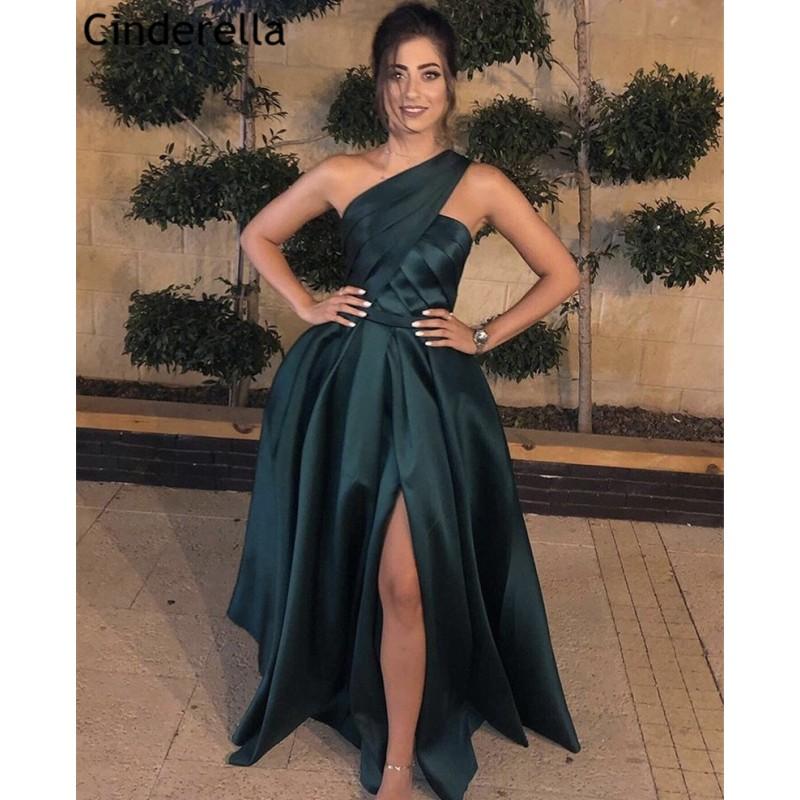 Fashion Prom Dresses robe de soiree Green One Shoulder A Line Sweep Train Satin Prom Dresses vestidos de fiesta de noche