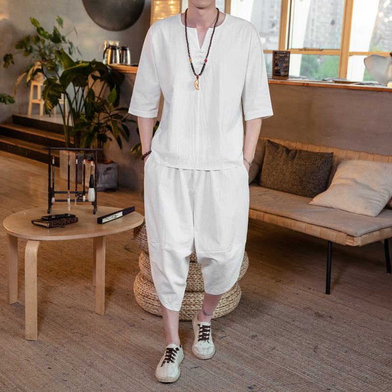Summer Chinese-style Flax Set Men's Cotton Linen Short Sleeve T-shirt MEN'S Wear Large Size Loose-Fit Capri Pants Trend Two-Piec