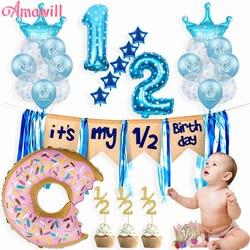 Мой 1/2 День Рождения украшения латексные воздушные Шары Баннер верхние части пончик 6 месяцев ребенок душ мальчик девочка половина день рож...