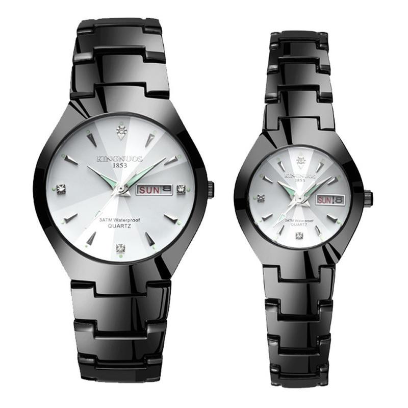Часы для влюбленных Роскошные Кварцевые наручные часы для мужчин и женщин Hodinky Dual Calender Week steel Saat Reloj Mujer Hombre парные часы - Цвет: Couple Black White