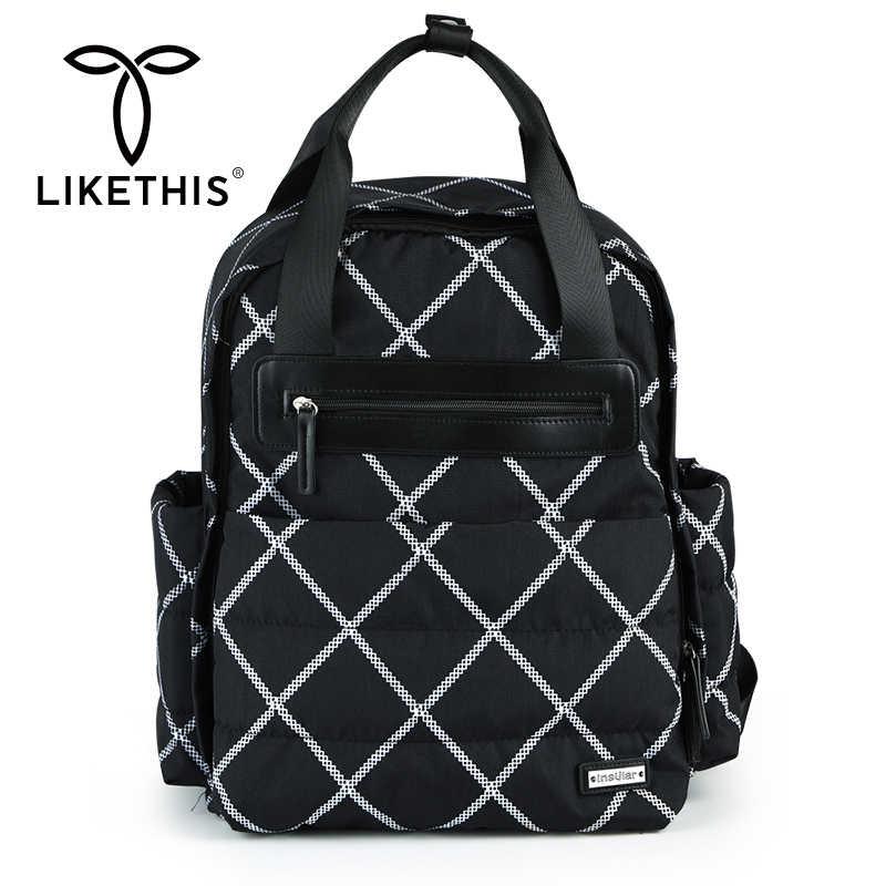 LIKETHIS plecak Baby Mothers torba na pieluchy mumia torby ciążowe duży wodoodporny plecak na laptopa wózek podróżny organizer na pieluchy