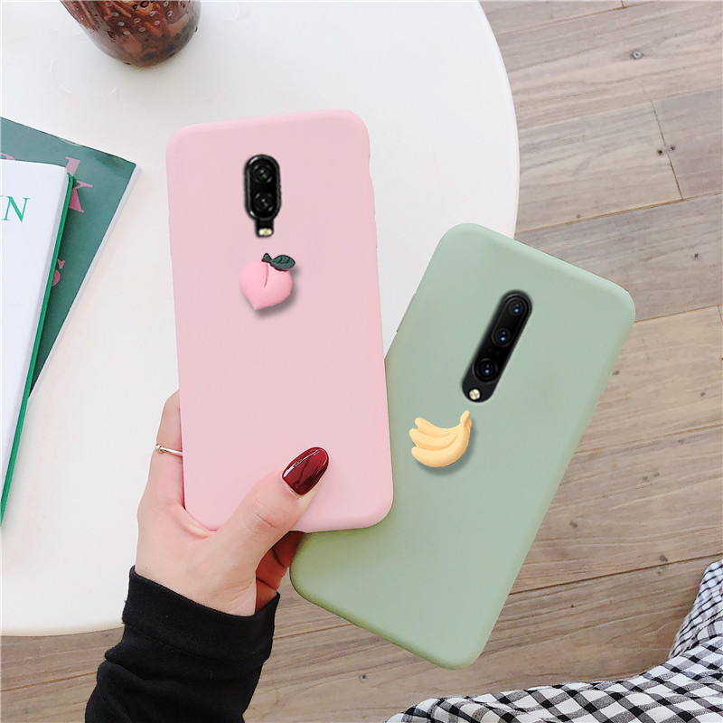 matte <font><b>3D</b></font> cute fruit silicone <font><b>case</b></font> for <font><b>oneplus</b></font> 7t 7 pro 6t <font><b>6</b></font> 5t 5 candy color soft tpu lovely funny pink back cover funda coque image