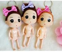 100pcs/Lot Mixed Colors 12CM Naked Doll Keychain DIY Dolls Key Chain Nude Naked Doll Keychain Princess Wedding DIY Keyring