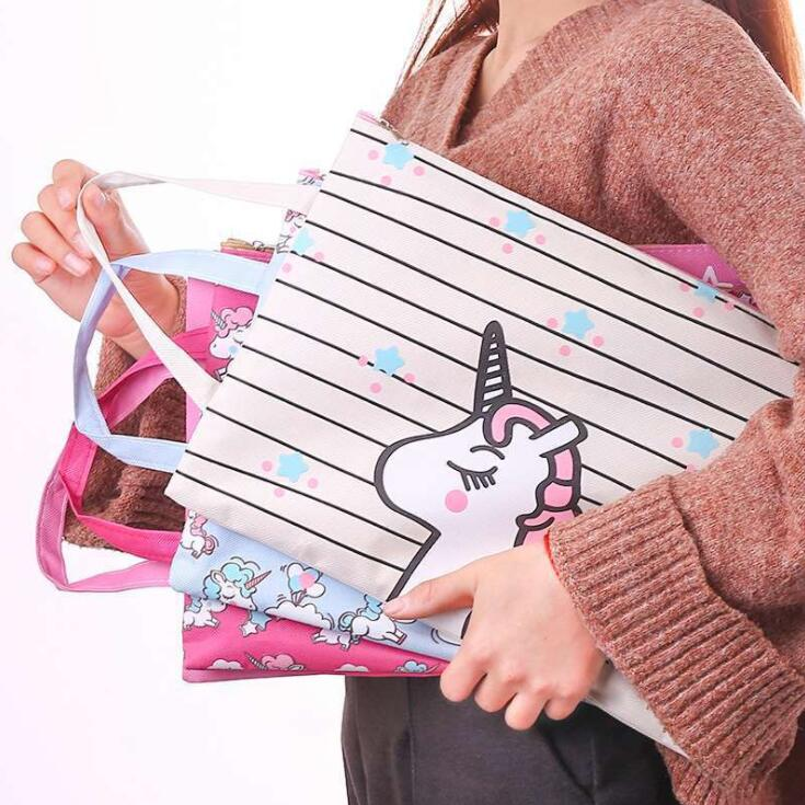 2020 New Kawaii Unicorn Waterproof Canvas A4 File Folder Bag Document Paper Organizer Storage Handbag School Office Stationery