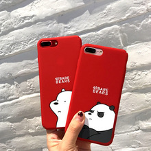 luxury  case for iPhone 8 8Plus iphone x XR cover 6 6s plus 7 7Plus XSMAX Hard PC Frosted Touch Cute Cartoon Lovely Couple Bear