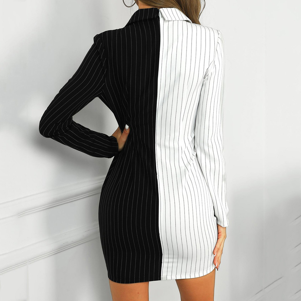 H7f17211d33994b28bebfe405fe1036ece Autumn Dress Women Turn Down Neck Long Sleeve Buttons Striped Patchwork Tight Blazer Dress Vestido De Festa White Dress #D5