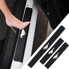Autocollant de seuil de porte en cuir protecteur de seuil de voiture en Fiber de carbone pour For Ford Mustang Gt car decal