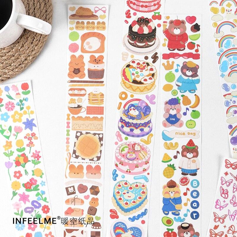1Pcs Happy Learning Club Series Cute Bear Flower Rainbow Cake Long Strip Stickers Decoration Scrapbo