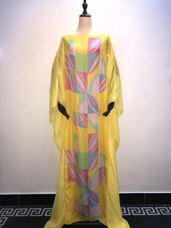 Charming Italian Lady Silk Kaftan Dresses Free Size Dashiki Silk Boubou Dresses African Dreses For Women