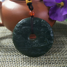 Pendant-Jewelery Hetian Jade Amulet Hand-Carving Lucky-Auspicious Natural Visiting-Friends