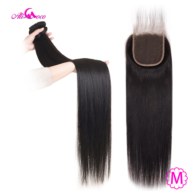 Ali Coco hint düz saç demetleri ile kapatma 30 inç 32 34 36 38 uzun insan saçı demetleri ile kapatma % 100% Remy saç