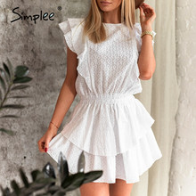 Simplee Elegant crew neck ruffle solid dress women High waist sleeveless sexy lace dress female Casual white ladies mini dress