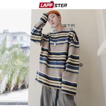 Мужские полосатые толстовки LAPPSTER в стиле Харадзюку, модель 2020 года, мужские свитшоты большого размера, осенний пуловер, одежда в стиле хип хоп, 5XL