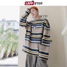 LAPPSTER Men 하라주쿠 스트라이프 후드 2020 Mens Japanese Streetwear 오버 사이즈 스웨터 가을 풀오버 힙합 의류 5XL