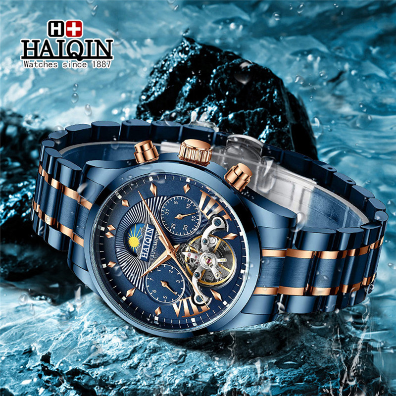 HAIQIN Fashion Mens Watches Top Brand Luxury WristWatch Automatic Mechanical Clock Blue Watch Men Waterproof Sport Reloj Hombre