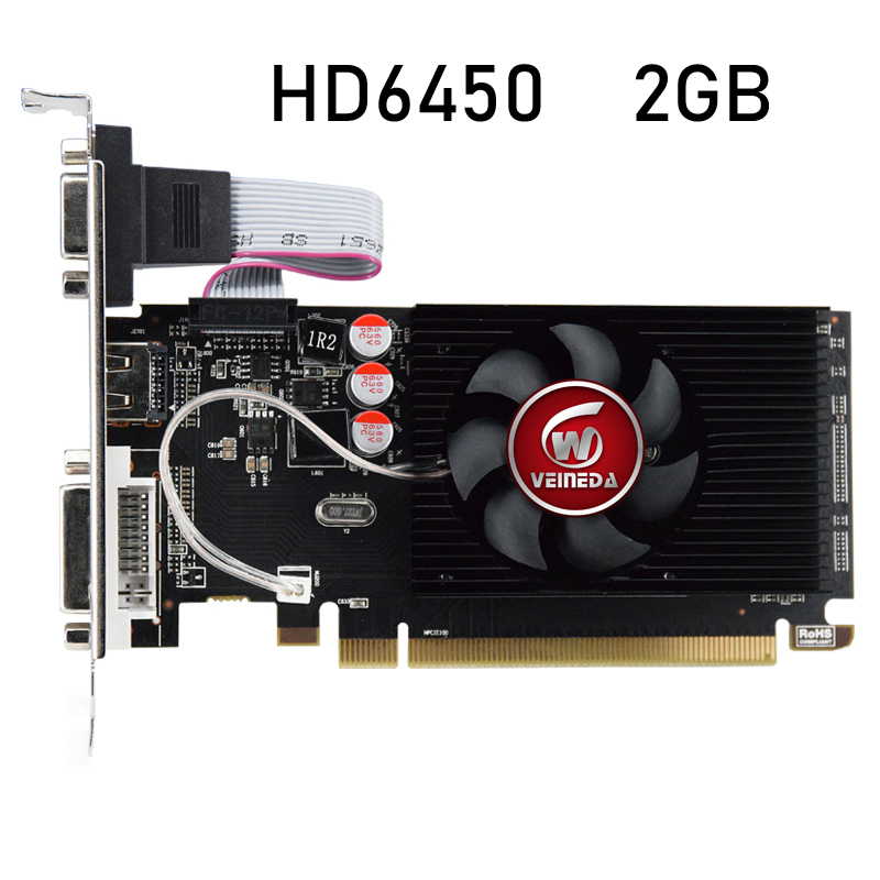 HD6450 GPU Veineda Desktop Graphics Cards hd6450 2GB DDR3 Graphic Video Card PCI Express For ATI Radeon Gaming 1