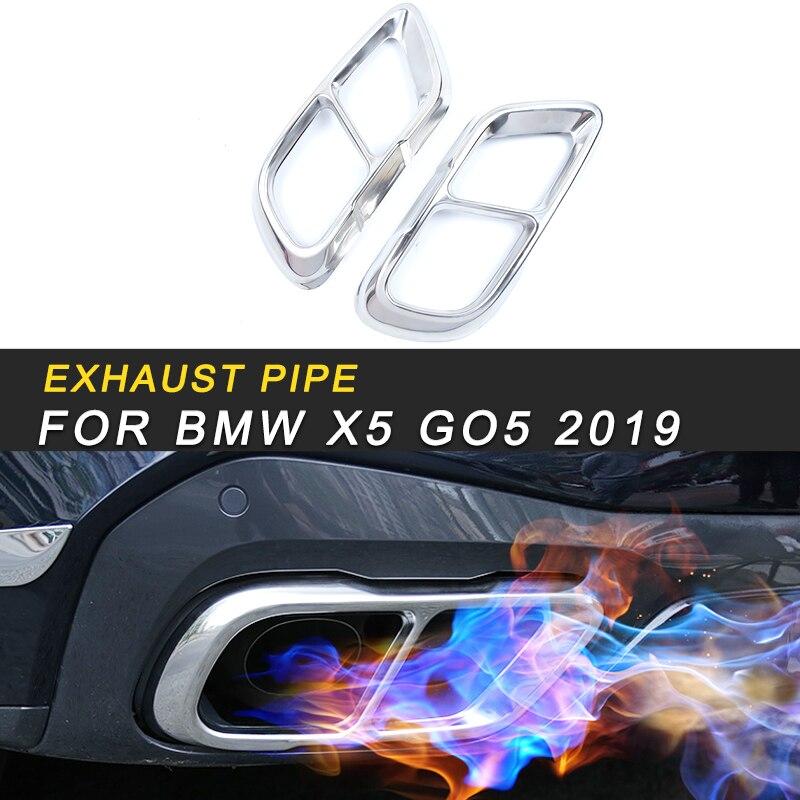 Tuyaux d'échappement d'échappement silencieux cadre couvercle garniture autocollant accessoires extérieurs pour BMW X5 G05 2019 style de voiture
