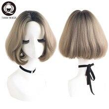 7JHH – perruques synthétiques pour femmes, perruques courtes, lisses, à la mode, résistantes à la chaleur, brunes et blondes