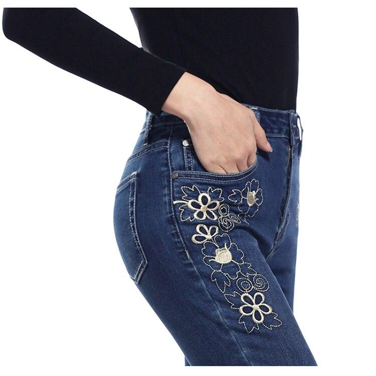KSTUN FERZIGE women jeans dark blue stretch high waist slim fit side embroidered florals spring and summer cropped pants denim jeans 17