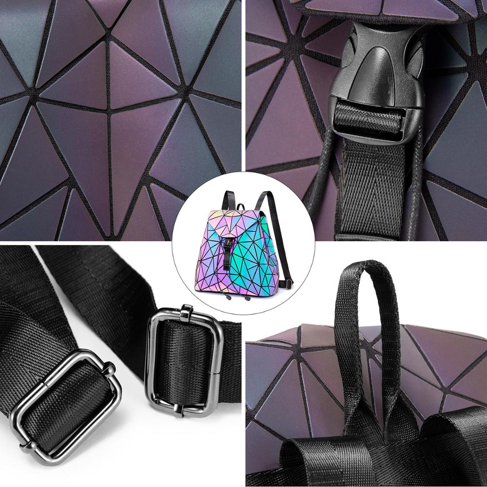 Reflective Geometric Luminescent  Bag Set - Clutch, Purse, & Backpack 6