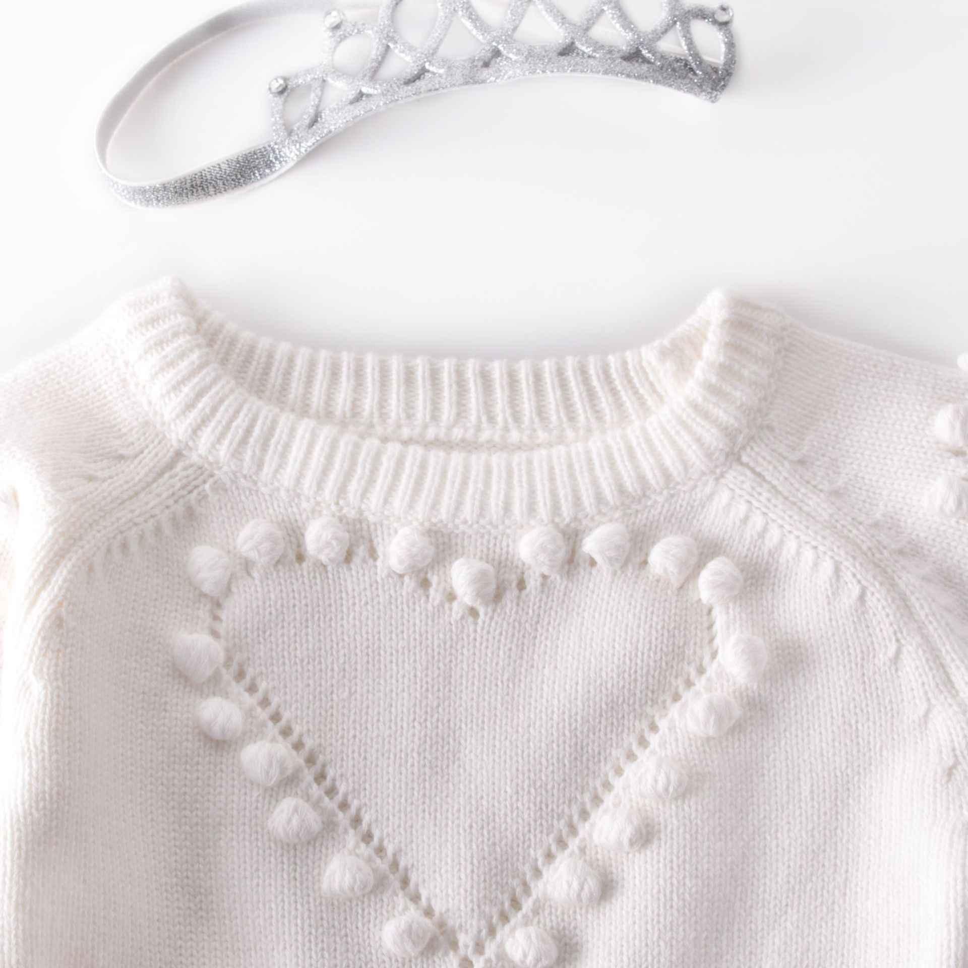 2019 de las muchachas del bebé de punto pantalones de manga larga de lana de punto de bebé princesa triángulo mono niño chico Otoño Invierno ropa