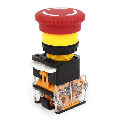 Push Button Switch AC 400V Red Sign E-Stop Emergency Mushroom 22mm No NC for CNC RTM
