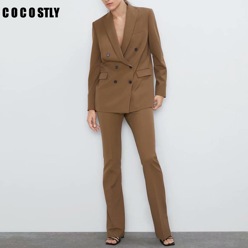 2020 New Office Work Blazer Suits Of High Quality OL Women Pants Suit Blazers Jackets With Trouser Two Pieces Set Khaki