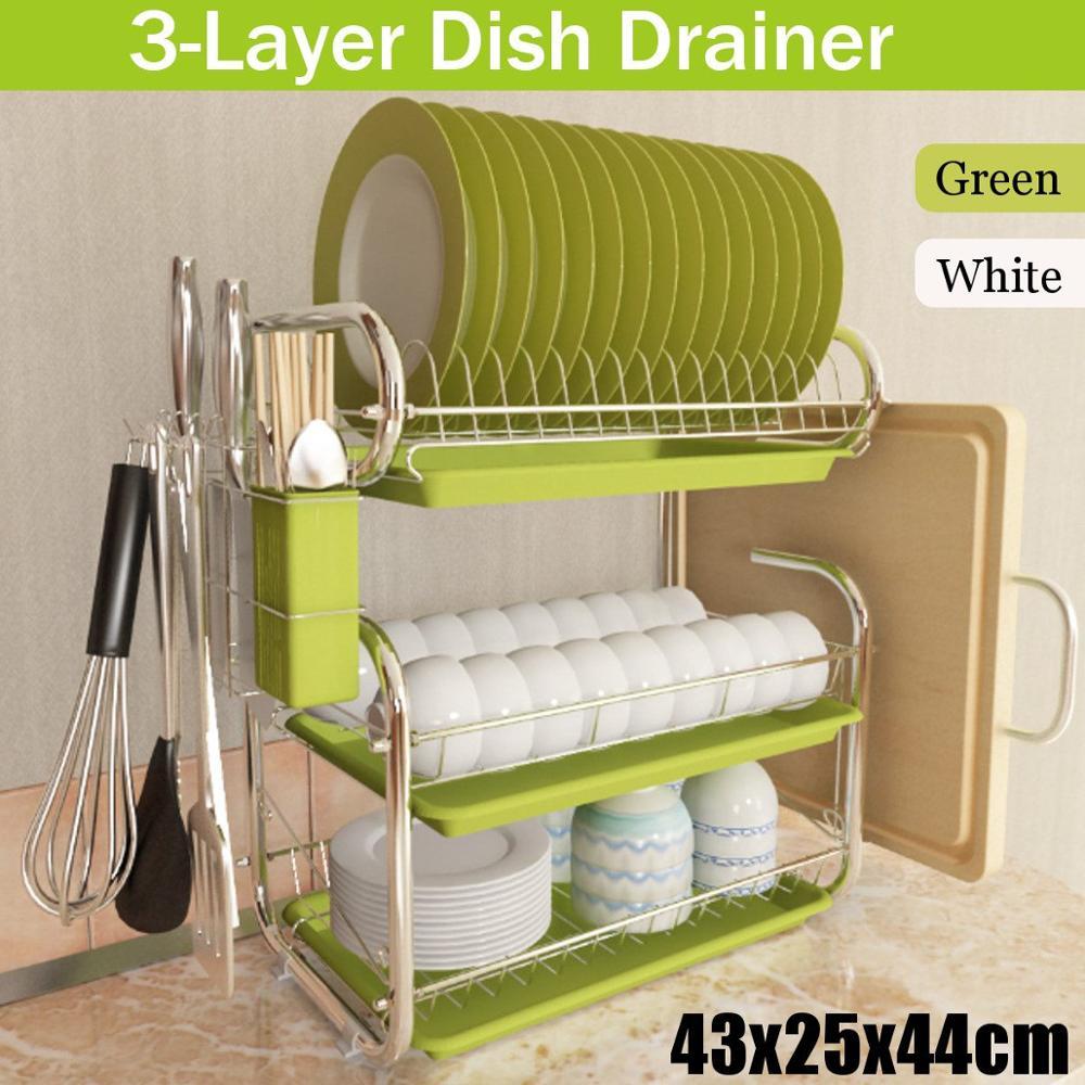 المقاوم للصدأ 3 طبقات طبق تجفيف رفرف اطباق المطبخ تخزين الرف غسل حامل سلة مطلي سكين بالوعة تجفيف المنظم أدوات