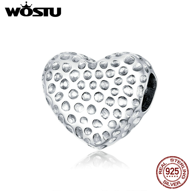 WOSTU Classic Heart Charms 925 Sterling Silver Pendant Beads Fit Original Bracelet Necklace For Women Wedding Jewelry CQC1587