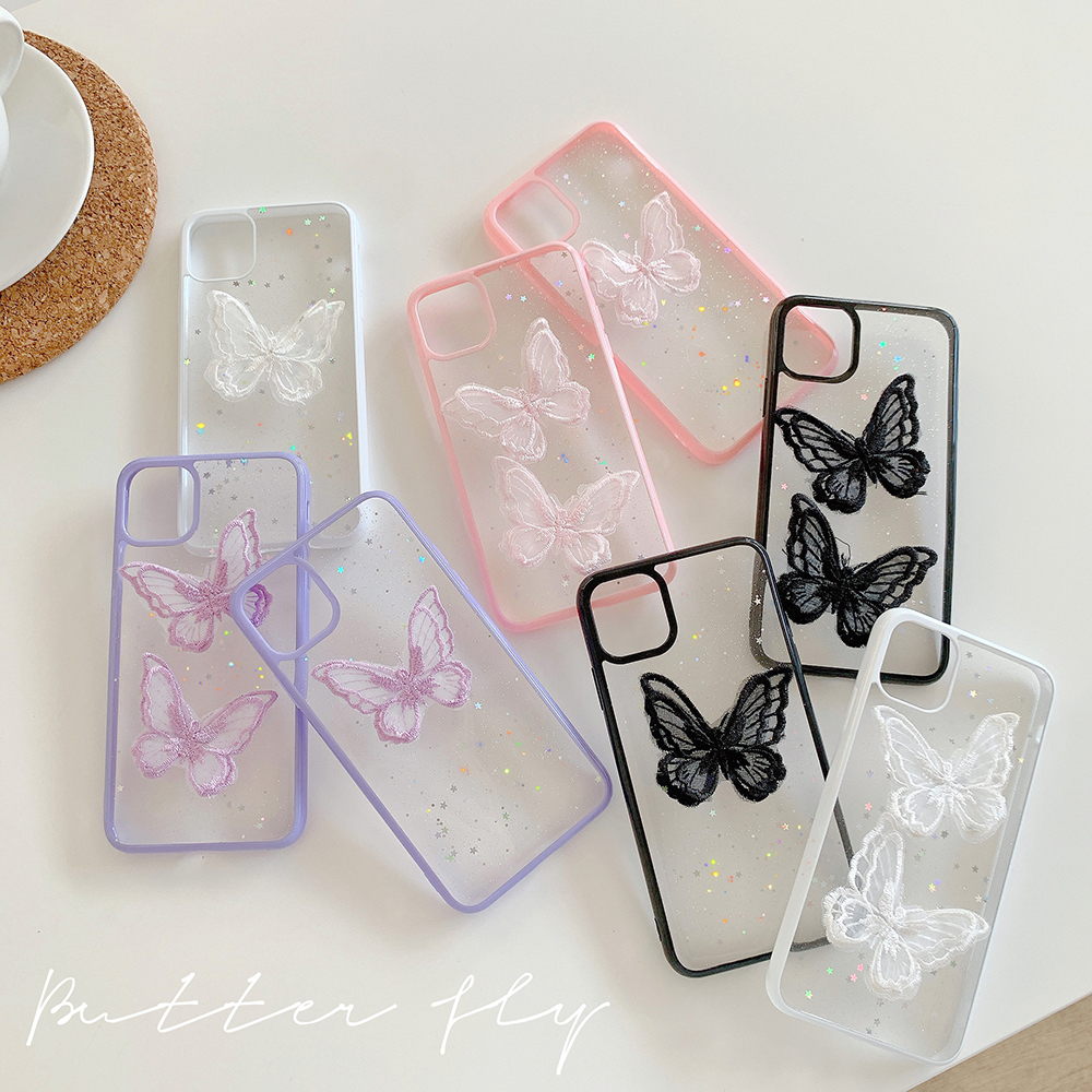 3D Cute Butterfly Phone Case For Iphone 12 Mini 11 Pro Max X XS XR Cartoon Clear Cover For Iphone 9 8 7 Plus 7Plus Funda Coque