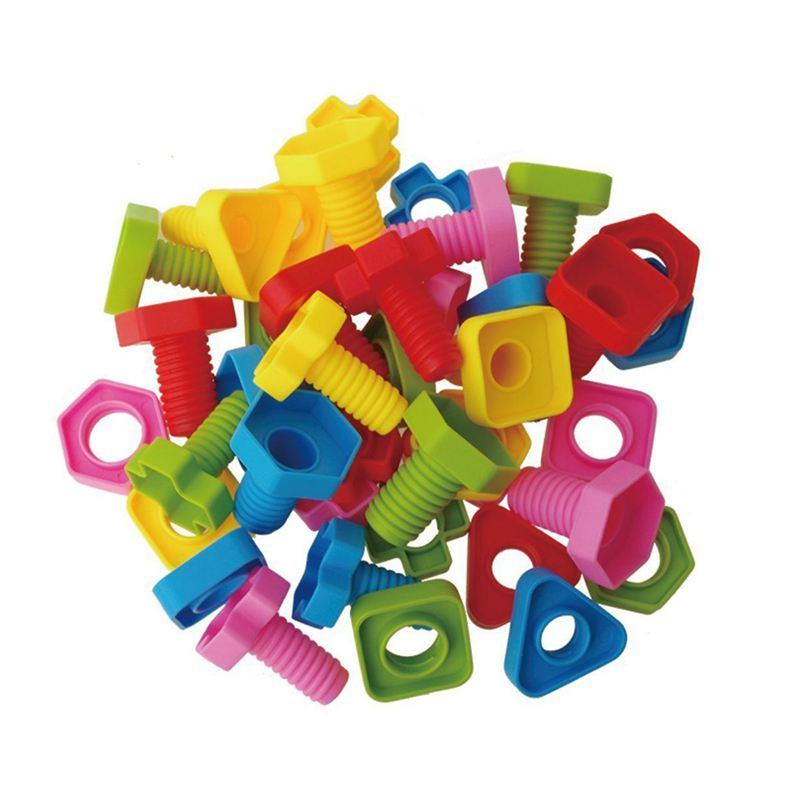 Nuts And Bolts Matching Toy Screw Nut Building Table Surface Plastic Spelling Insert Educational Toys Children Rainbow Matching