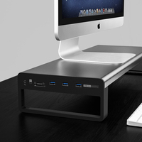 Aluminum Monitor Stand Holder Metal Riser USB 3.0 laptop stand with 3.5mm Audio Port 1TF and 1 SD Built in Card Soporte Monitor