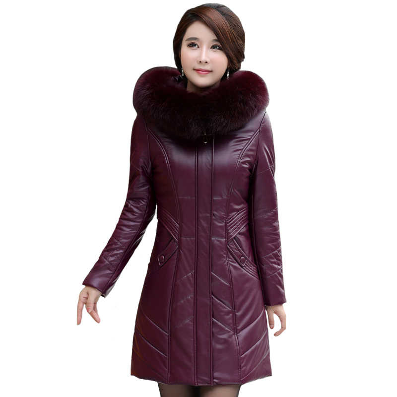 Winter Jacket Women PU Leather Parkas Fur Collar Hooded Plus Size 6XL 7XL 8XL Thicken Warm Middle-aged Mother Women Winter Coat