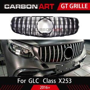 Image 4 - GLC X253 AMG style Front Racing Mesh Grill for MB X253 GLC200 GLC250 GLC300 GlC450 Sport Version Silver 2016+
