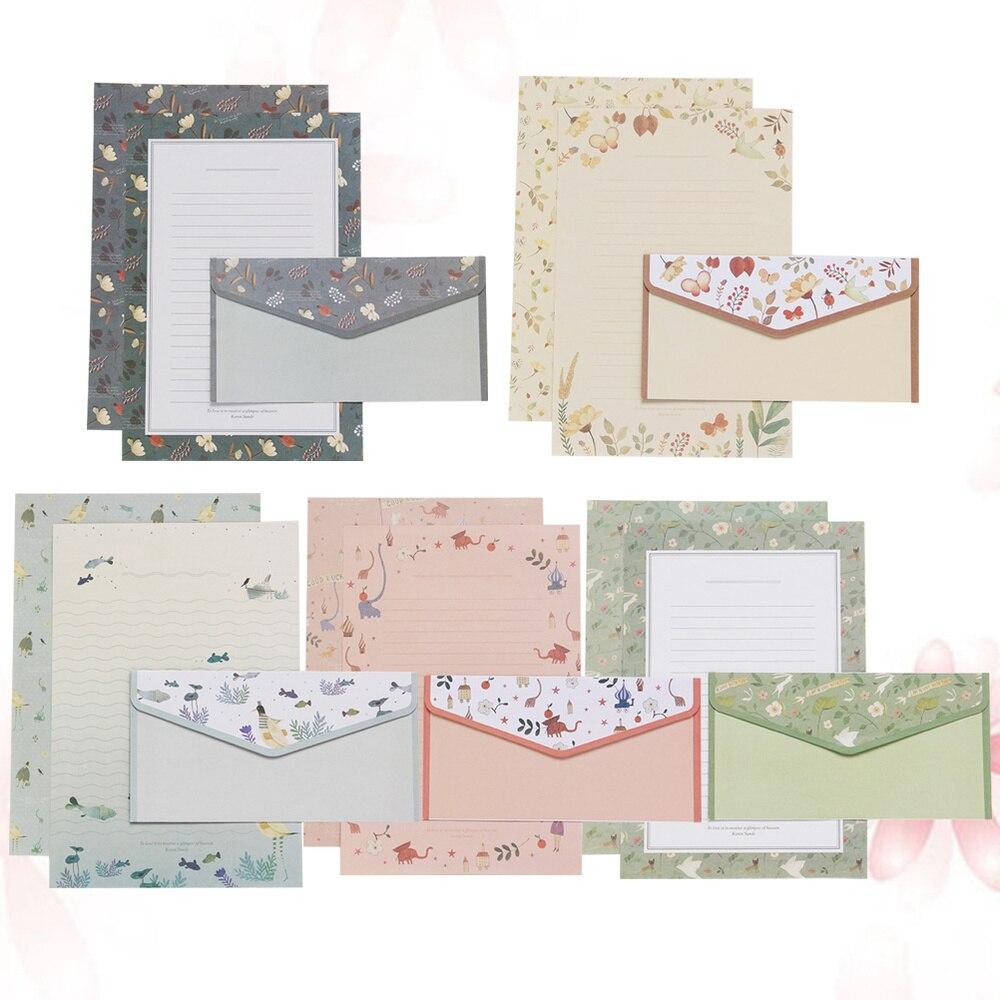 5 комплектов/45 шт с цветочным принтом письмо и Бумага прекрасный написание конверты комплект школьные канцелярские товары для школы (15