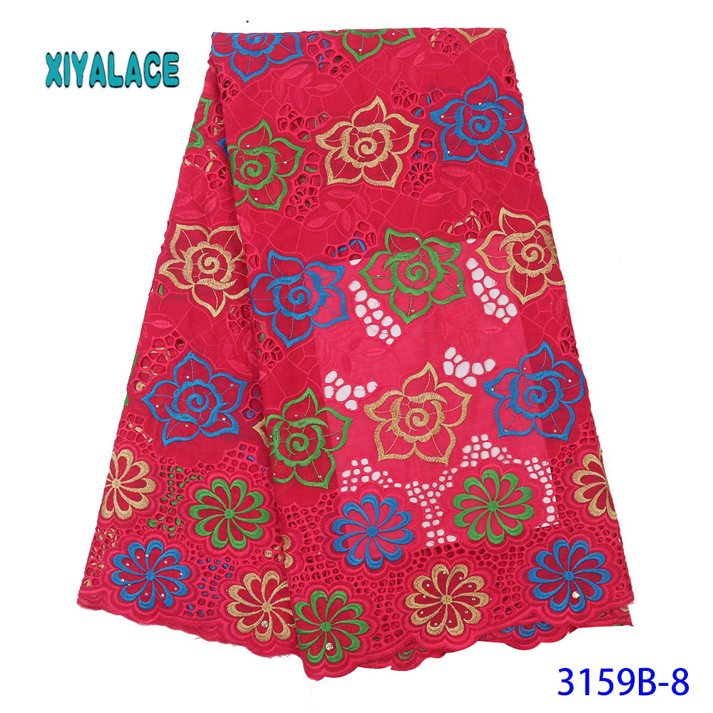 New Arrivals Swiss Voile Lace In Switzerland High Quality African Dry Lace Fabric 100%Punch Holes Cotton Lace For Part YA3159B-8