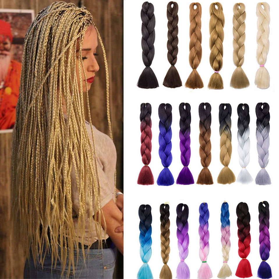 S-noilite 24 Inch Ombre Jumbo Braids Synthetic Braiding Crochet Blonde Pink Blue Grey Hair Extensions