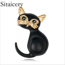 Sitaicery Factory Direct Sale Black Color Crystal Rhinestones Cute Cat Brooch Pins For Women