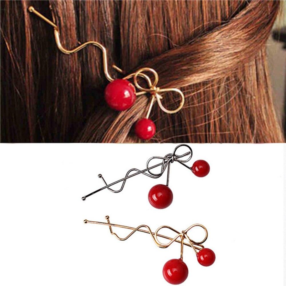 Sweet Women Girls Korean Style Hairpin Cherry Shaped Bow Hairgrip Twist Hair Clip Headdress Hair Styling  Accessories