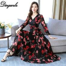 Dingaozlz Plus size Female Flare sleeve Casual dress New Flower Printed Chiffon dress V neck Bow tie Long Sleeve Women dress цена