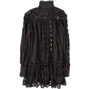Image 2 - Truevoker滑走路デザイナーリゾートドレス女性のランタンスリーブ刺繍中空アウト金属リベットセクシーなレディースパーティーvestidos