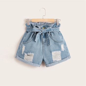 Plus Size Blue Belt Paper-bag Waist Ripped Roll Hem Denim Shorts