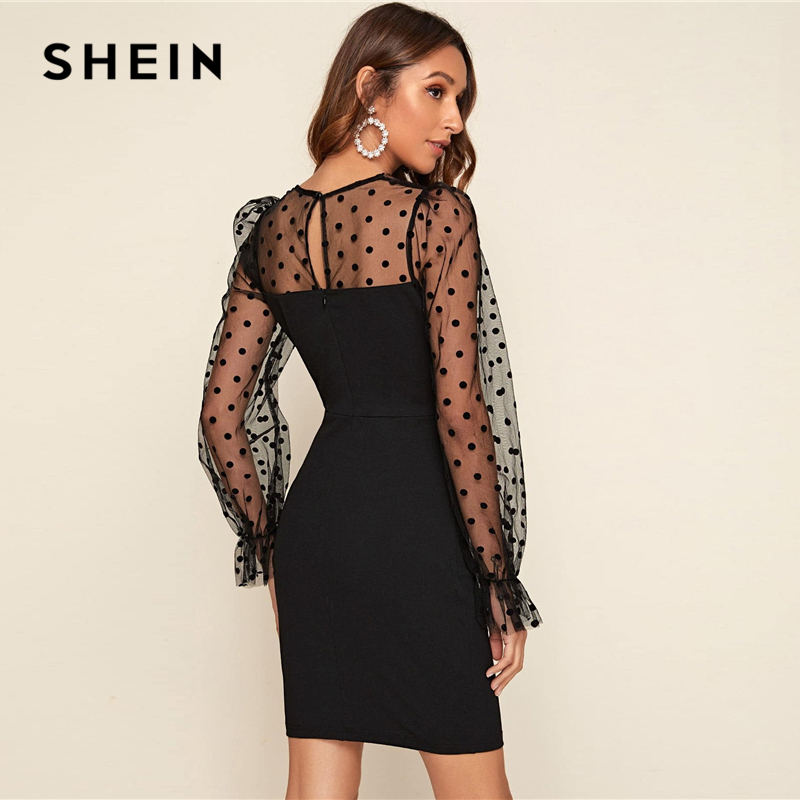 SHEIN Black Flounce Sleeve Flocked Dobby Mesh Shoulder Dress Women 2020 Spring Flounce Sleeve Elegant Pencil Short Dresses 2
