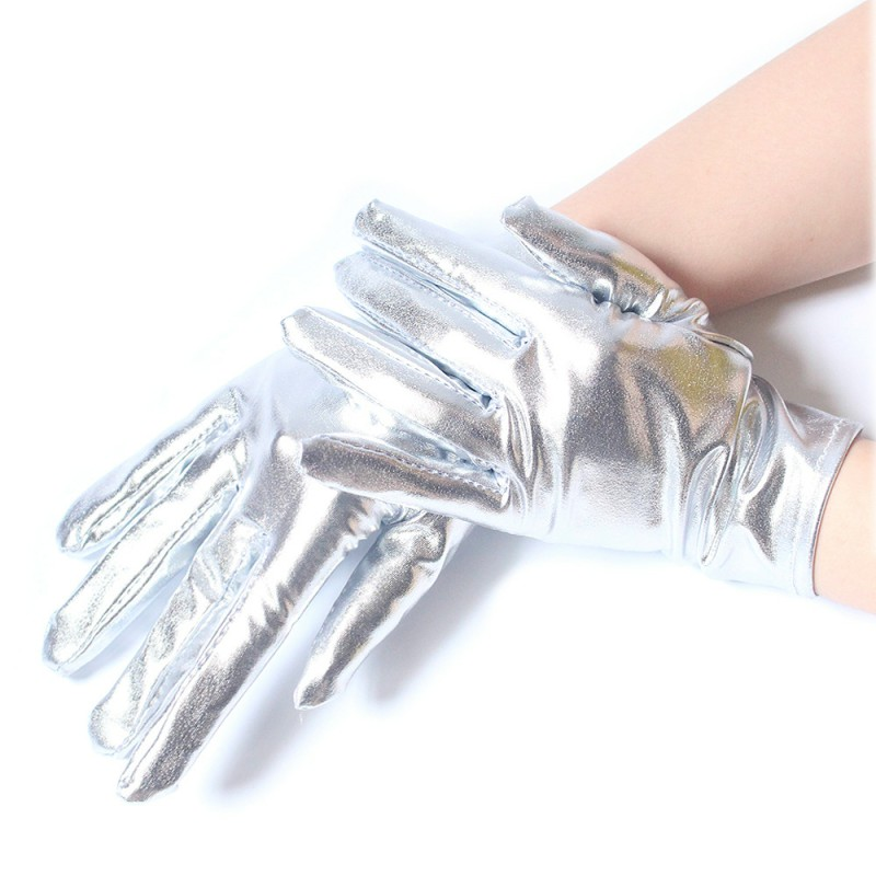 Princess Dress Up Short Gold Gloves Shiny Patent Silver Gloves For  Christmas Party Bridal Women's Wedding Formal Pageant ST253