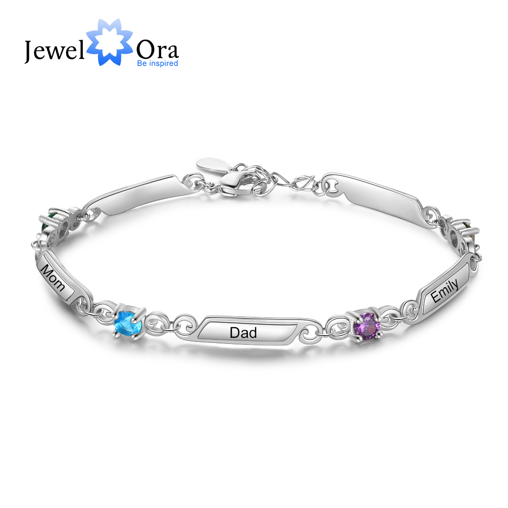 Elegant Personalized Bracelets With 4 Birthstones Custom 5 Family Names Engraved Bracelets & Bangles Trendy Jewelry Gift